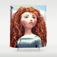merida Shower Curtains featuring Brave - Merida the Celtic Princess by Juniper Vinetree
