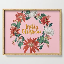 Gold Christmas Poinsettia Floral Wreath on Pink Serving Tray