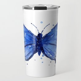 Butterfly Blue Watercolor Animal Painting Travel Mug
