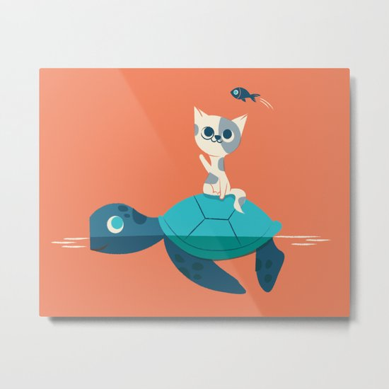 Cat on a Turtle Metal Print