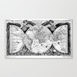 Black and White World Map (1630) Canvas Print