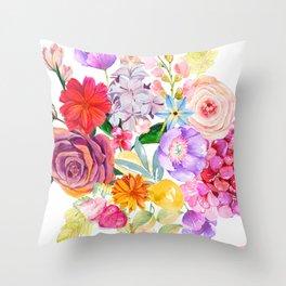 Spring Bouquet in the Garden Throw Pillow