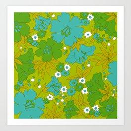Green, Turquoise, and White Retro Flower Design Pattern Kunstdrucke