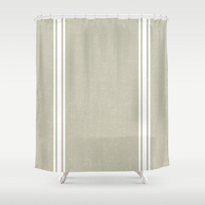 Vintage Country French Grainsack White Stripes Against Linen Color Background Shower Curtain By Shabbyhappydesigns