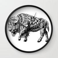 bison Wall Clocks featuring Bison by BIOWORKZ