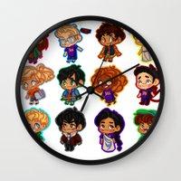 percy jackson Wall Clocks featuring Chibis of Olympus by chubunu