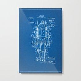 1921 Submarine Armor Patent - Blueprint Style Metal Print