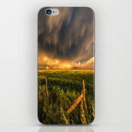 Breadbasket - Golden Light Illuminates Fence and Field in Kansas iPhone Skin