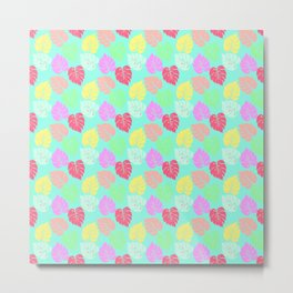 Pastel Rainbow Monstera Metal Print