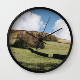 Grazing sheep and trees on a hillside. Edale, Derbyshire, UK. Wall Clock