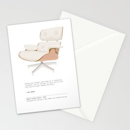 Midcentury Eames Lounge Chair - Pearl Art Print with Quote Stationery Cards