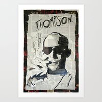 hunter s thompson Art Prints featuring Dr. Hunter S. Thompson by Mike Oncley