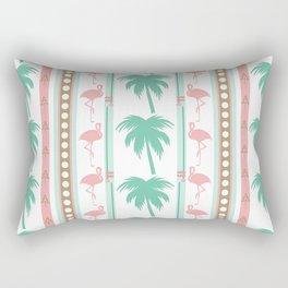 Art Deco Palm Trees and Flamingos Rectangular Pillow