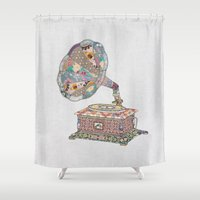 calvin Shower Curtains featuring SEEING SOUND by Bianca Green