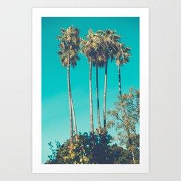 Retro Vintage Looking California Palm trees Art Print