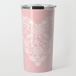 Millennial Pink Blush Rose Quartz Hearts Lace Flowers Pattern Travel Mug