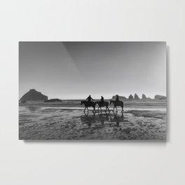 Horseback Storytelling Black and White Metal Print