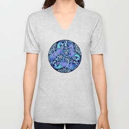 7 Blue Celtic Horses Unisex V-Neck