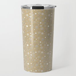Gold & White Christmas Snowflakes Travel Mug