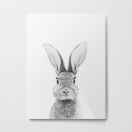 Black and White Bunny Metal Print