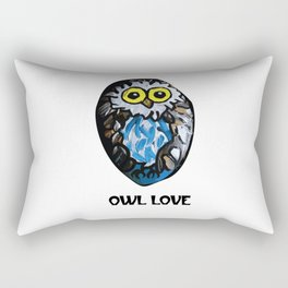 Owl Love Rock Painting on River Rock by annmariescreations Rectangular Pillow