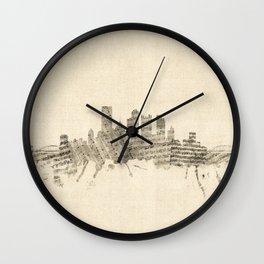 Pittsburgh Pennsylvania Skyline Sheet Music Cityscape Wall Clock