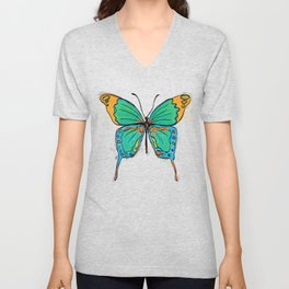 Simple Colorful Butterfly Unisex V-Neck