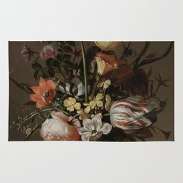 Jacob Marrel - Still Life With A Vase Of Flowers And A Dead Frog Rug