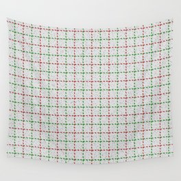 Acampo, Medium Carmine on Forest Green Tattersal Wall Tapestry
