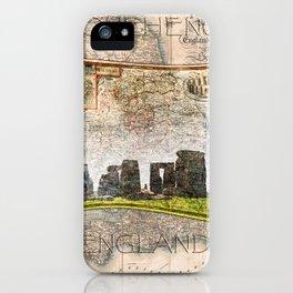 Stonehenge Art Map iPhone Case
