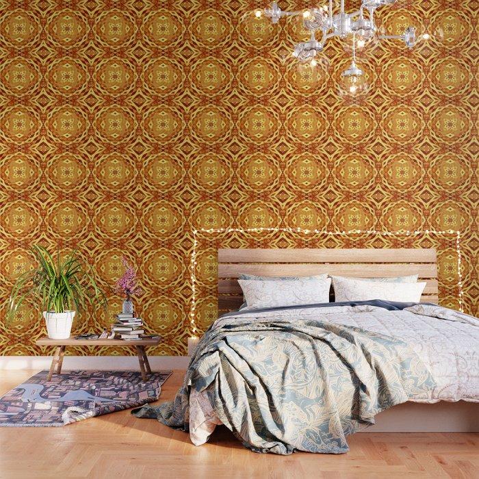 Vintage Floral Boho Wood Cut Mandala Wallpaper By