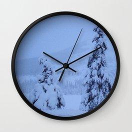 Snow Laden Evergreen Trees Wall Clock