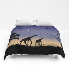 African dawn - giraffes Comforters