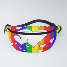 Gay flag with the colors of the rainbow with hearts Fanny Pack