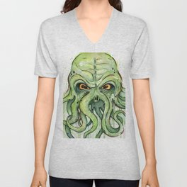 Cthulhu Green Tentacles Unisex V-Neck