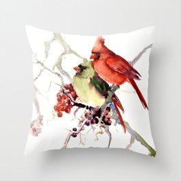 Cardinal Birds, birds art, two bird artwork cardinal bird Throw Pillow