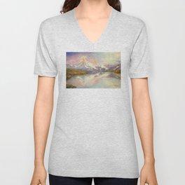 Matterhorn with Rainbow - Swiss Mountain Landscape Unisex V-Neck