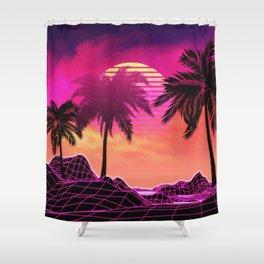 Pink vaporwave landscape with rocks and palms Shower Curtain