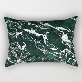 Dark green forest watercolor white marble christmas pattern Rectangular Pillow