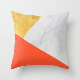 Carrara Marble with Gold and Pantone Flame Color Throw Pillow