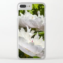 Beautiful pink peony after rain Clear iPhone Case