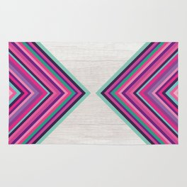 Wood and Bright Stripes, Chevron - Geometric Design Rug