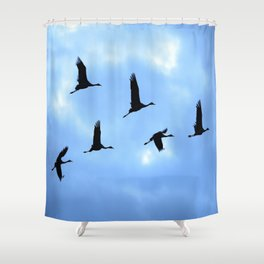 Welcome back! Cranes in flight #decor #society6 Shower Curtain