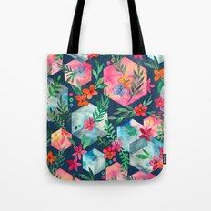 Whimsical Hexagon Garden on Blue Tote Bag