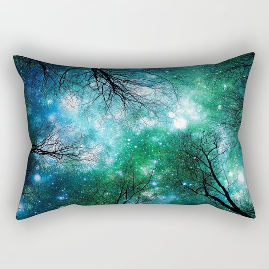 Black Trees Teal Green Space Rectangular Pillow