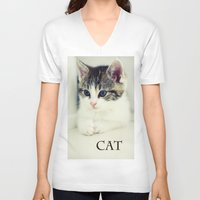 cat coquillette V-neck T-shirts featuring Cat by Falko Follert Art-FF77