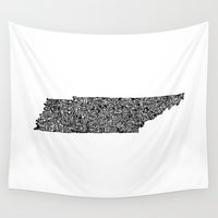 tennessee Wall Tapestries featuring Typographic Tennessee by CAPow!