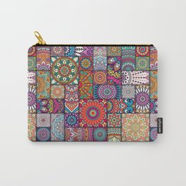 Boho Patchwork Quilt Pattern 2 Carry-All Pouch
