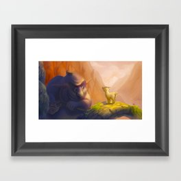 The goat and the troll Framed Art Print