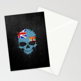 Flag of Fiji on a Chaotic Splatter Skull Stationery Cards